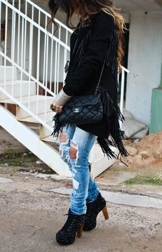 suede fringe jacket + destroyed denim.