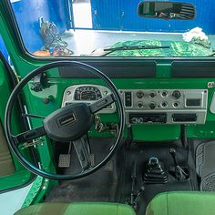 Interior before restoration 1983 Toyota Land Cruiser FJ40 John Deere Green #fjco1983johndeeregreen #toyota #landcruiser #fj40