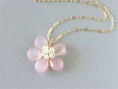 Gemstone Flower Necklace Rose Fanta Shaded by LemonDreamHouse, $46.00