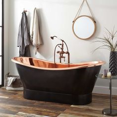 Buy the Signature Hardware Antique Black Direct. Shop for the Signature Hardware Antique Black Thaine Antique Black Copper Double Slipper Pedestal Air Tub with Polished Interior and save. Bathroom Spa, Bathroom Faucets, Small Bathroom, Bathroom Ideas, Bathroom Designs, Bathroom Renovations, Copper Bathroom, Tub Faucet, Bathroom Black
