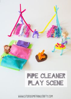 Pipe Cleaner Crafts - A Camping Play Scene For Toys -SUCH A QUICK AND SIMPLE PLAY ACTIVITY FOR KIDS!