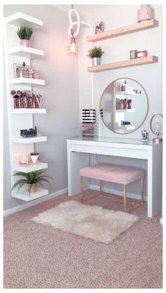 dream rooms for adults ; dream rooms for women ; dream rooms for couples ; dream rooms for adults bedrooms ; dream rooms for girls teenagers Bedroom Decor For Teen Girls, Room Ideas Bedroom, Bedroom Themes, Teenage Girl Bedrooms, Girls Bedroom Decorating, Pink Bedroom Decor, Teen Bedroom Designs, Bedroom Plants, Teen Rooms