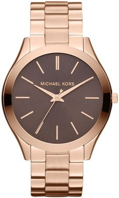 Michael Kors Mid-Size Rose Golden Stainless Steel Slim Runway Three-Hand Watch