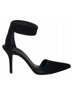 Black Suede Thin Heeled Heels