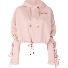 Brognano cropped hoodie ($383) ❤ liked on Polyvore featuring tops, hoodies, pink, cropped hoodie, pink hoodies, sweatshirt hoodies, pink top and hooded sweatshirt