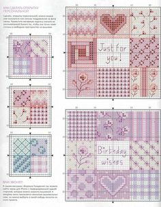 patchwork cross stitch cards