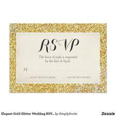 Elegant Gold Glitter Wedding RSVP Card