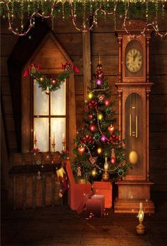 Old Christmas room. Old vintage room with a Christmas tree and decorations , Christmas Photo Booth, Christmas Room, Christmas Photos, Vintage Christmas, Christmas Kitchen, Merry Christmas, Christmas Decor, Muslin Backdrops, Custom Backdrops