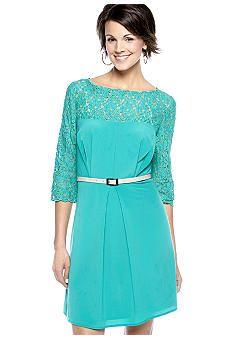 Turquoise! Jessica Simpson's Three-Quarter Sleeved Lace Trim Dress. #belk #Shopcrabtree