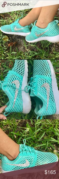 Authentic Nike runner Tiffany blue with Swarovski Authentic Nike runner Tiffany blue with Swarovski crystals on the logo, size reads youth 6, fits a true 7.5 gently used original paid with tax over 185 for the shoes. Nike Shoes Sneakers