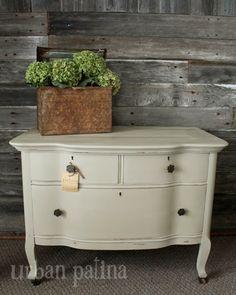 Urban Patina: Warm Cream Serpentine Dresser ASCP Old White
