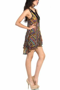 LoveMelrose.com From Harry & Molly | Multicolor Chiffon Dress - Black