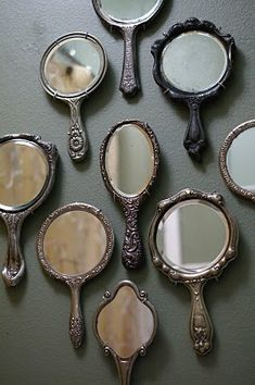 Beautiful vintage hand mirrors - wall decor