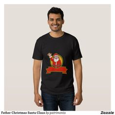 American Father Christmas Santa Claus T Shirt. Men's Christmas t-shirt with a retro style illustration of American Santa Claus on isolated white background set inside red circle. Mens Christmas T Shirts, Tee Shirts, Tees, Boombox, City Art, Shirt Style, Shirt Designs, Father Christmas, Retro Christmas
