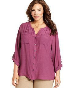 Elementz Plus Size Shirt, Three-Quarter-Sleeve Rhinestone Utility - Plus Size Tops - Plus Sizes - Macy's