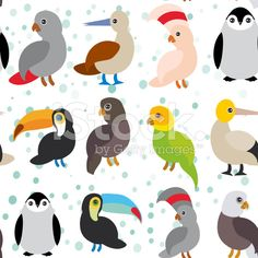 seamless pattern Cute Cartoon birds gannet penguin toucan eagle booby royalty-free stock vector art