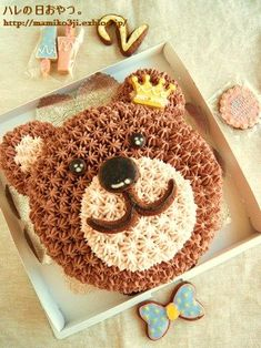 Bear cake two dogs eyes. : Sunny day snack.