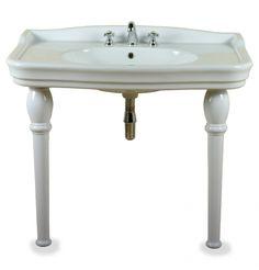 Ethos Console wastafel - Klassieke brede wastafel op keramische poten.