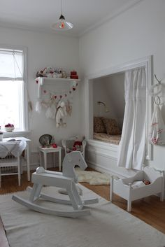 """What fun for a child to have this """"hideaway"""" space - could be made from a closet, and could have pull out drawers underneath.  This room needs much more color, tho!"""