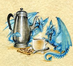 Coffee Time by ~Hbruton on deviantART - little known fact: dragons love coffee
