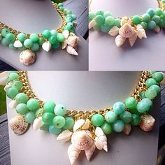 Weekend in Montauk... Gold chain with Amazonite and shells