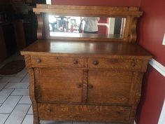 Antique Tiger Oak Sideboard Buffet W/Mirror Backsplash Arts U0026 Crafts C.1910