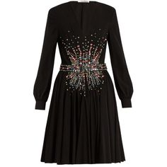 Miu Miu Plunging embellished silk mini dress (€5.200) ❤ liked on Polyvore featuring dresses, evening dresses, cocktail dresses, holiday dresses, holiday cocktail dresses and short dresses