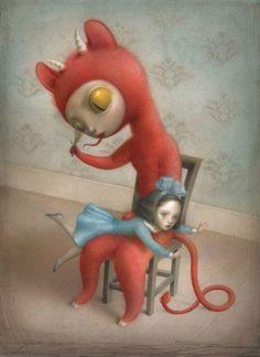 Seven of Wands - Nicoletta Ceccoli Tarot by Nicoletta Ceccoli Art Pop, Arte Lowbrow, Mark Ryden, Arte Horror, Creepy Cute, Art And Illustration, Whimsical Art, Surreal Art, Dark Art