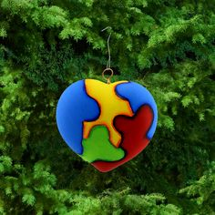 Ceramic Puzzle Piece Heart Ornament at The Autism Site