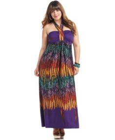 Love Squared Plus Size Dress, Halter Printed Maxi