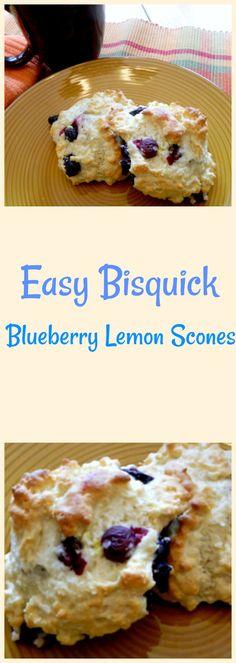 Bisquick Blueberry Lemon Scones - Pams Daily Dish - Look At Brandi Easy Desserts, Dessert Recipes, Scone Recipes, Breakfast Recipes, Breakfast Kids, Vegetarian Desserts, Breakfast Cookies, Breakfast Dishes, Blueberry Lemon Scones