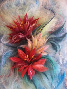 Купить Цветы - бордовый, изумрудный, голубой, цветы, картина, картина шерстью, живопись шерстью