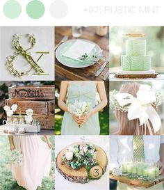 Mint, white and pale pink create a dreamy palette that adds romance to a rustic wedding style! via @b.loved