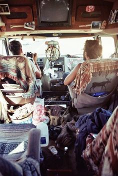 The hippy lifestyle...love the dream catcher hanging in the rear view mirror.
