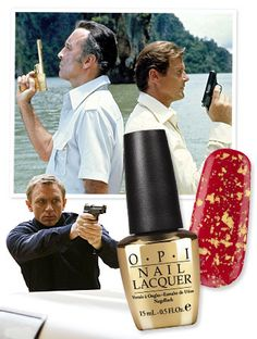 In honor of the golden anniversary of James Bond—the movie franchise turns 50 this year!—nail polish brand OPI created a gold leaf top coat aptly named The Man with the Golden Gun.  http://news.instyle.com/2012/08/15/james-bond-gold-opi-topcoat/