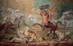 Centaurs fighting wild cats, Roman mosaic from the Palace of Hadrian, century AD, Altes Museum, Berlin Roman History, Art History, Italy History, Ancient Rome, Ancient Art, Ancient History, Ancient Greek, Opus Vermiculatum, Ancient Greece