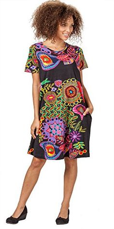 La Cera Short Sleeve 100% Cotton Dress in Night Glow (XL(18-20), Black Multi) ** Details can be found at