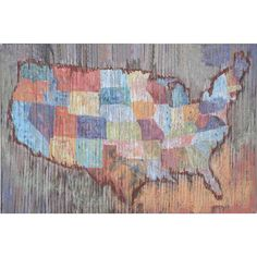 Schoolhouse charm meets rustic style with this wood wall decor, showcasing a map motif in a colorful palette.Product: Wall decor