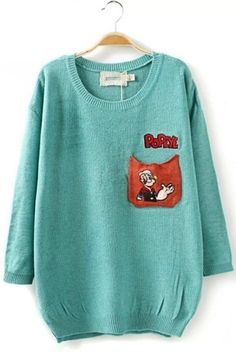 Relaxed POPEYE Graphic Sweater OASAP.com