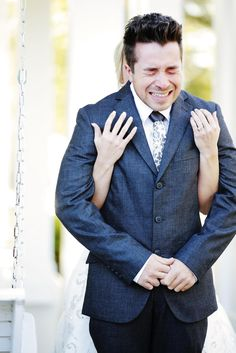 So emotional! We love this incredible moment right before the groom saw his bride for the first time on their wedding day.