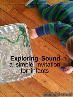 Exploring Sound : A Simple Invitation for Infants Infant Classroom, Baby Sensory, Early Childhood Education, Baby Play, Infant Activities, Toddler Preschool, Baby Care, Infant Room, Infant Play