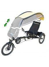 Le vélo couché : une nouvelle manière confortable d'avaler les km, tout en étant protégé des intempéries grâce à cette protection contre la pluie à vélo amovible. Top !