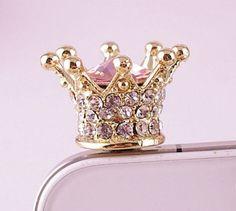 imperial crown iphone plug cell phone earplug charm, phone charm, dust plug, dust plug charm, headphone jack charm, iphone charm, phone plug on Etsy, $3.12 CAD