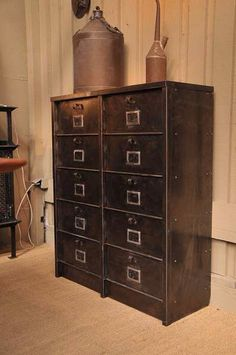 1930 French Vintage Industrial Filing Cabinet In Steel X X