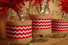 Chevron set of 3 Mason Jars decorated with by PineknobsAndCrickets, $25.00