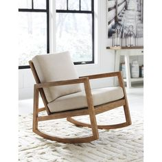 Ivory Joanna Rocking Chair Natural Fabric By World
