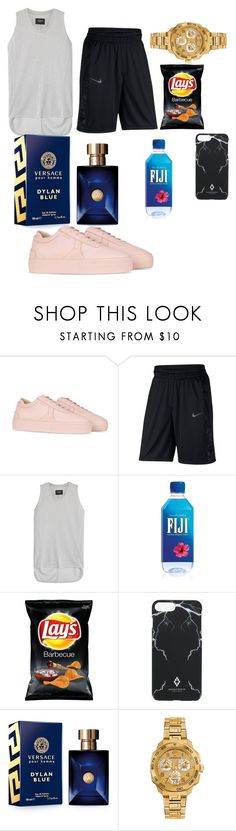 """Untitled #12"" by vickyisnice ❤ liked on Polyvore featuring Axel, NIKE, Fear of God, County Of Milan, Versace, men's fashion and menswear"