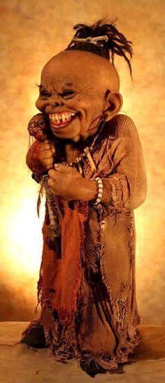 thomas kuebler creepy sculpture shrunken head doll voodoo hoodoo evil mischief grin