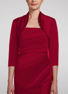 Classic and timeless, this 3/4 sleeve jacket is the perfect accessory for any bridesmaid dress!  3/4 sleeve stretch satin jacket.  Provides just the right amount of coverage.  Fully lined. Imported polyester. Dry clean.