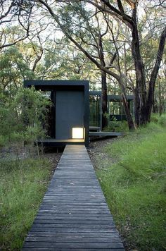 David Luck Architect (Australia) - Red Hill House interior. I like the drama of the color and light of the staggered boxes.| Curb Appeal | Modern Architecture Boardwalk | wood | woodland | precedent image | trees | canopy